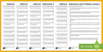Year 2 Subtraction Word Problems Differentiated Worksheet / Activity Sheets - KS1 Maths, Solve problems with addition and subtraction applying their increasing knowledge of menta