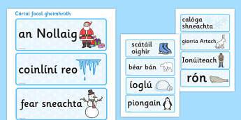 Cártai focal gheimhridh Topic Word Cards Gaeilge - irish, gaeilge, winter, topic, word cards, word, card