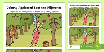 Johnny Appleseed Spot the Difference Activity Sheet - John Chapman, Apples, Fall, American Legends, worksheet