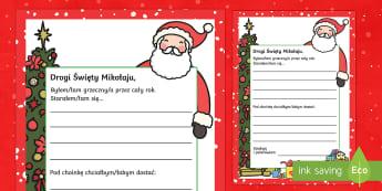 Szablon List do Świętego Mikołaja - mikołaj, gwiazdor, święty, renifer, prezenty, gwiazdka, gwiazdor, grudzień, list, szablon, listu