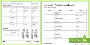 Sports Translation Worksheet / Activity Sheet French - KS3, french, hobbies, sport, Freetime, translation, vocabulary, keywords, worksheet / activity sheet,French