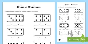 Chinese New Year Domino Addition Sheet - australia, chinese