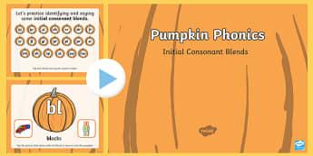 Pumpkin Phonics Initial Blends Interactive PowerPoint