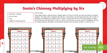 Santa's Chimney - Multiplying by Six Activity Sheet - multiplication, times tables, multiples, numeracy, maths, mathematics, worksheet
