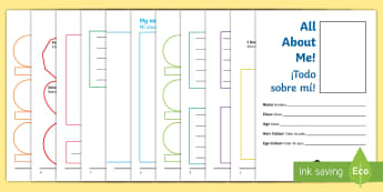 All About Me Activity Booklet English/Spanish - transition, key stage 1, Year 1, Year 2, end of term, new starter, tranistion, all bout me, tranitio