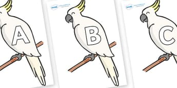 A-Z Alphabet on Cockatoos - A-Z, A4, display, Alphabet frieze, Display letters, Letter posters, A-Z letters, Alphabet flashcards