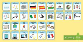 SEN Visual Timetable for School Arabic/English - EAL SEN Visual Timetable for School - sen visual timetable, school visual timetable, simple visual t