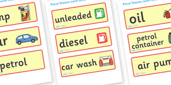 Petrol Station Word Cards - petrol station, cars, cars, word card, flashcards, cards, oil, pump, petrol, air pump, unleaded, diesel, car wash, flowers, snacks, newspapers