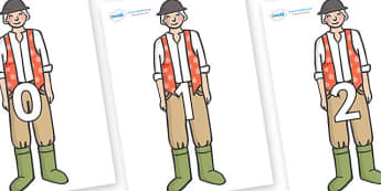 Numbers 0-31 on Farmer to Support Teaching on Pig in the Pond - 0-31, foundation stage numeracy, Number recognition, Number flashcards, counting, number frieze, Display numbers, number posters