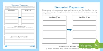 Discussion Preparation Writing Activity Sheet - Group Work, Talking Points, Reader Response, Speaking and Listening, Writing, Reading Response, Spea