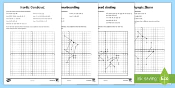 UKS2 Winter Olympics Coordinates Activity Sheets - Rings, Ski, Snowboard, Bobsleigh, Ice Skate, maths, plotting, quadrant
