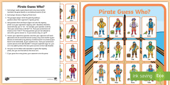 Pirate Guess Who? Activity -  colour, hat, choice, game, guessing, chance, maths, pirate, fun, enjoy, questions