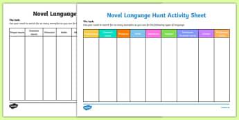 Novel Language Hunt Activity Sheet-Irish, worksheet