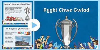 Pŵerbwynt Rygbi Chwe Gwlad - Rugby Six Nations, Welsh Language Resources, Grand Slam, Triple Crown, Wooden Spoon, Stadium, footba