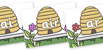 Phase 3 Phonemes on Beehives - Phonemes, phoneme, Phase 3, Phase three, Foundation, Literacy, Letters and Sounds, DfES, display