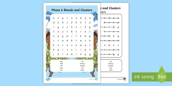 Phase 4 Blends and Clusters Words Word Search - Phase 2 Word Search - phase 2, word search, wordsearch, phase, 2, activity,satipn, letters and sound
