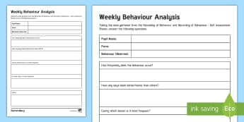 Weekly Monitoring of Behaviour Tracking and Analysis Editable Proforma - Behaviour, Monitoring behaviour, Tracking behaviour, behave, classroom management