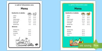 Menu pour jeu de rôle : Le café de l'alimentation saine - nutrition, aliments, repas, viande, cycle 2,French