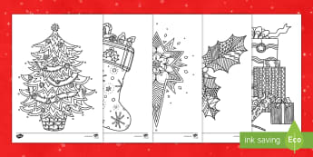 Christmas Themed Mindfulness Colouring Sheets English/Portuguese - colouring, fine motor skills, well being, stress, early years, ks1, ks2, EAL