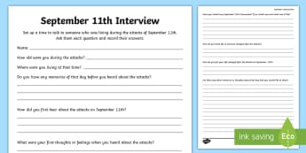 September 11th Interview Activity Sheet - September 11th, 9/11, patriot Day, Interview, US History