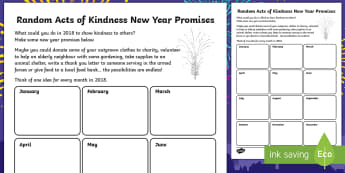KS2 Random Acts of Kindness New Year Promises Writing Activity Sheet - fruits of the spirit, christmas, year 1, year 2, being kind.