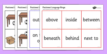 Positional Language Bingo - Postion, Positional, Bingo, game, Positional Language, Position Words, up, down, inside, outside, next to, North, South, East, West