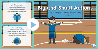 Big and Small Actions Rhyme PowerPoint - early concepts, movement, physical development, ,
