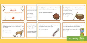 Herbst: Mathematik Quizkarten - DE (Autumn), Jahreszeiten, Mathe, Rechnen, Kl.1/2, autumn, seasons, maths, calculating, KS1,German