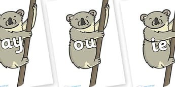 Phase 5 Phonemes on Koalas - Phonemes, phoneme, Phase 5, Phase five, Foundation, Literacy, Letters and Sounds, DfES, display