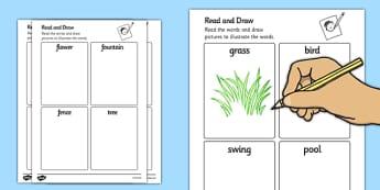 Garden Read and Draw Worksheets - garden, read, draw, worksheet, back garden, outside
