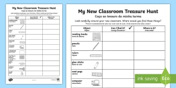 My New Classroom Treasure HuntEnglish/Portuguese - My New Classroom Treasure Hunt - new classroom, treasure hunt, eal