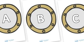 A-Z Alphabet on Portholes - A-Z, A4, display, Alphabet frieze, Display letters, Letter posters, A-Z letters, Alphabet flashcards