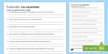 Holidays Translation Writing Activity Sheet Spanish  - Spanish, Vocabulary, topics, holidays, travel, tourism, translation, translating, activity, sheet, w