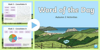 Year 2 Word of the Day Autumn 2 PowerPoint -  consolidate, definition, patterns, dictionary, rules