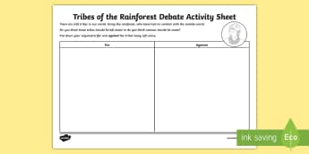 Tribes of the Rainforest Debate Activity Sheet - worksheet, debate, activity sheet, rainforest, tribes, debate activities, for and against,Scottish