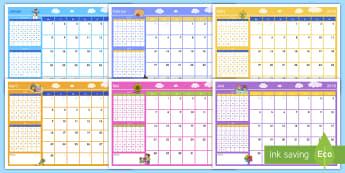 2018 Jahreskalender - Kalender, neues Jahr, Planung, Klassenzimmer, Klassenraum, Termine, ,German