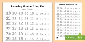10 20 Reducing Handwriting Size Number Formation Activity Sheets - 10-20, reducing, handwriting, size, number, formation, worksheet,handwritin,letter formation,hanwrit