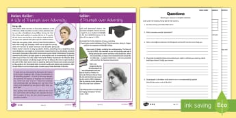 Helen Keller Differentiated Reading Comprehension Activity - KS2, comprehension, reading, reading comprehension, reading activity, Helen Keller