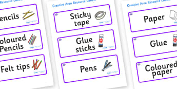 Octopus Themed Editable Creative Area Resource Labels - Themed creative resource labels, Label template, Resource Label, Name Labels, Editable Labels, Drawer Labels, KS1 Labels, Foundation Labels, Foundation Stage Labels