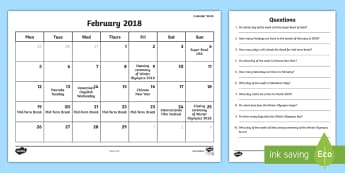 Problem Solving Calendar Work February 2018 Worksheet / Activity Sheet - time, date, calendar, events, solving, reading, Irish, worksheet