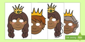 The Princess and the Pea Role Play Masks - The Princess and the Pea, prince, queen, princess, pea, castle, fairytale, traditional tale, Hans Christian Andersen, story, story sequencing, role play mask, role play