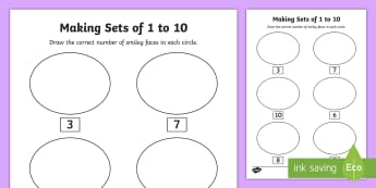Senior Infants Making Sets 1-10 Activity Sheet - worksheet, objects, first, numbers, counting, count, up to 10