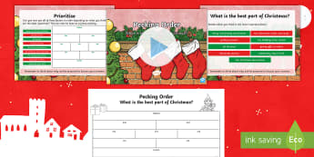 Pecking Order: What Is the Best Part of Christmas? Activity Pack - Diamond 9, PowerPoint, Activity Sheet, Debate, Listening and Talking