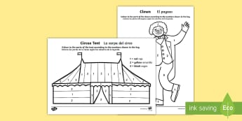 Circus Colour by Number English/Spanish - colouring, count, counting, EAL, translation