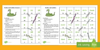 Snakes and Ladders - Addition and Subtraction to 20 Board Game - CfE Numeracy and Mathematics, number, money, measure, shape, position, movement, data handling, info