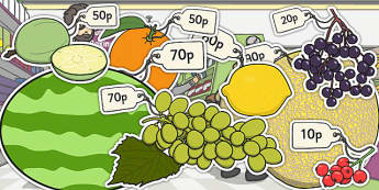 Priced Pieces of Fruit Multiples of 10p - fruit, priced, multiple