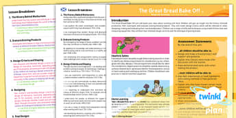 D&T: The Great Bread Bake Off LKS2 Planning Overview CfE