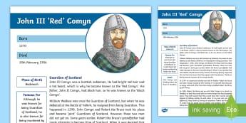 Battle of Bannockburn Significant Person: John Comyn Fact File - CfE Battle of Bannockburn, King Edward II, Robert the Bruce, Scots, 1314, war of independence, Scott - CfE Battle of Bannockburn, King Edward II, Robert the Bruce, Scots, 1314, war of i