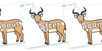 KS1 Keywords on Antelopes - KS1, CLL, Communication language and literacy, Display, Key words, high frequency words, foundation stage literacy, DfES Letters and Sounds, Letters and Sounds, spelling