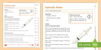 Hydraulic Action Investigation Instruction Sheet Print-Out - practical, hydraulics, Pneumatic, force, forces, pressure, states of matter, solid, liquid, gas